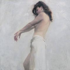 Nude White Linen figurative oil painting
