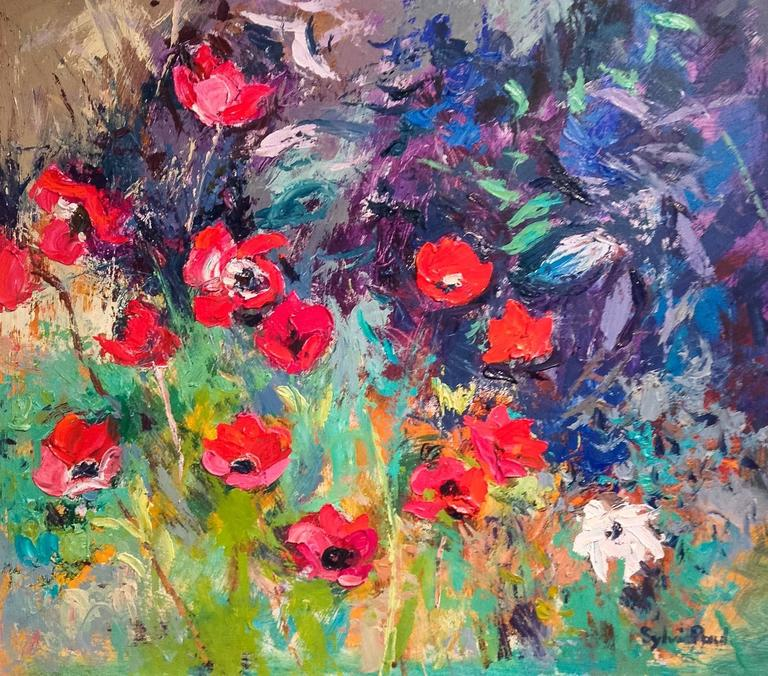 Sylvia Paul Abstract Painting - Red Anemones Garden Landscape Painting