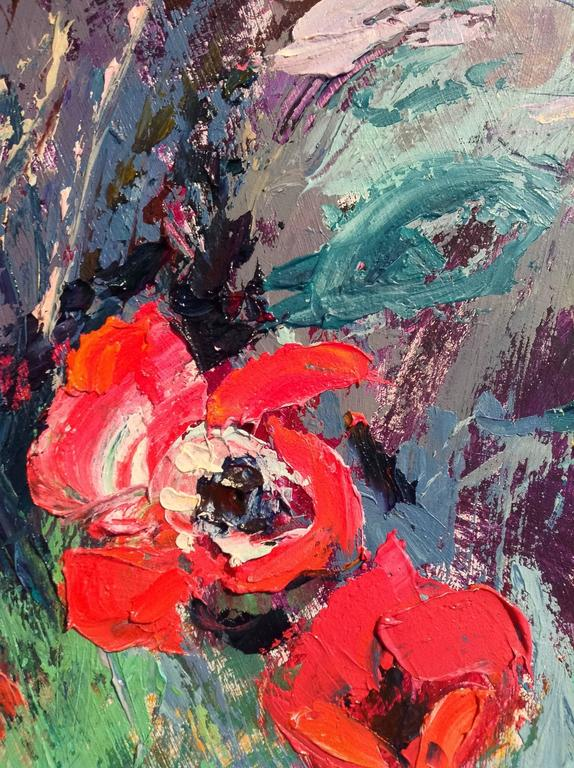 """The original painting """"Red Anemones in the Garden"""" by Sylvia Paul is framed, signed and stringed and ready to be displayed.   Sylvia Paul's oil paintings are worked using a knife in a free and expressive style. For her landscapes she"""