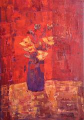 Red Screen Abstract Still Life Painting
