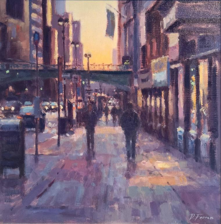 Early Risers, Dawn, 42nd Street city landscape painting