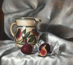 Bird Jug and Figs still life oil painting