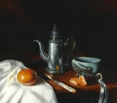 Realism Still Life painting with Clementine and Coffee Pot