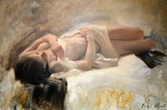 Nude , White Linen figurative oil painting