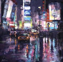 Night, Rain NYC  original cityscape painting