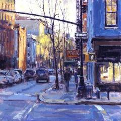 Corner Coffee Greenwich Village original cityscape painting