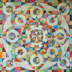 Multi Colored Spades original geometric painting