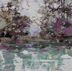Violet River abstract landscape painting