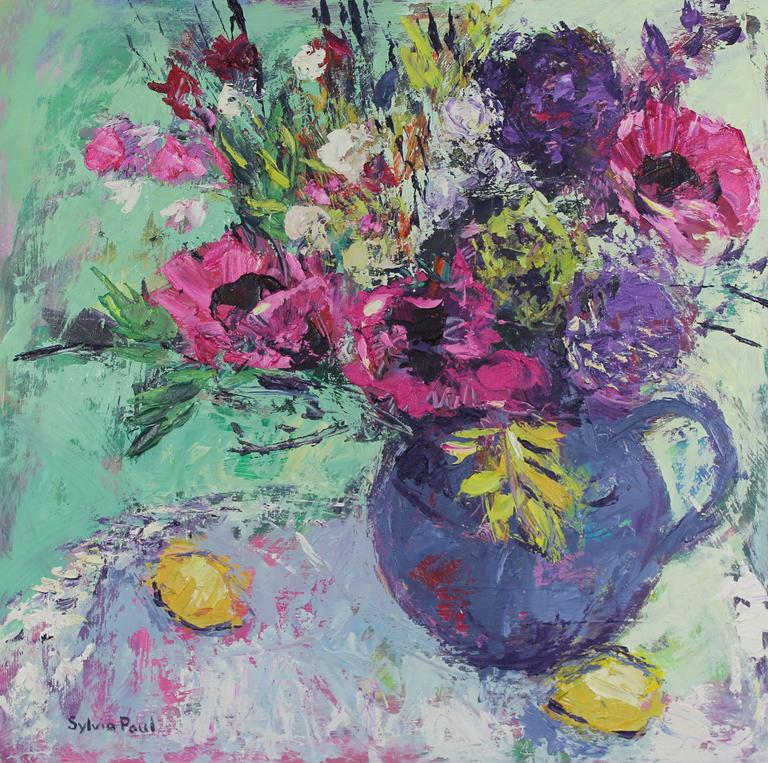 Pink Garden Poppies original still life painting