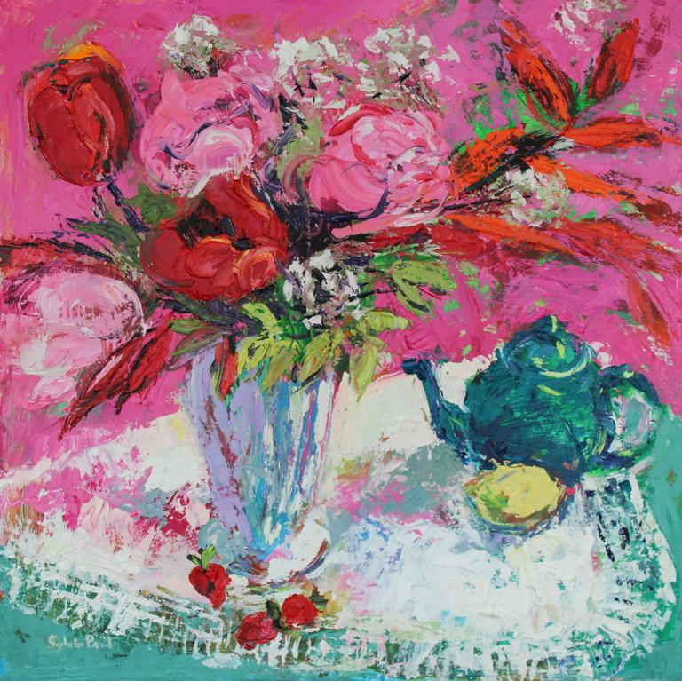 Tulips and Tea abstract still life painting