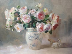 Roses and silver original still life painting