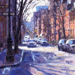 Quite Morning Greenwich Village  original landscape painting