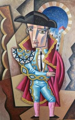 Torero en Turquesa original cubism painting