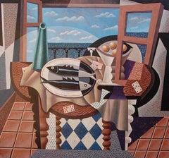 Pez blanco pez negro original cubism painting