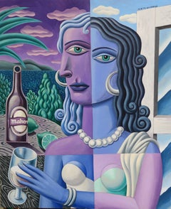 Woman with a glass original cubism painting