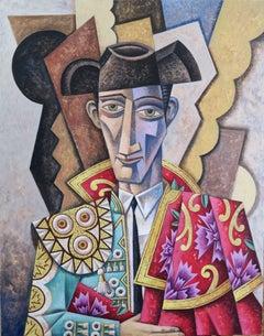 Man in a turquoise coat original cubism painting