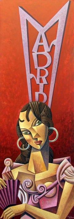 Woman of Madrid original cubism painting