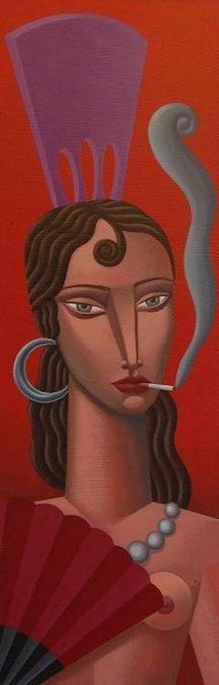 Smoking Woman original Cubism painting