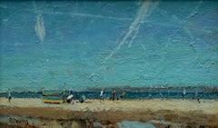 Vapour trails at the beach  original landscape painting