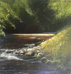 River and light through the trees  original landscape painting