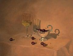 Cherries and Wine original realism painting