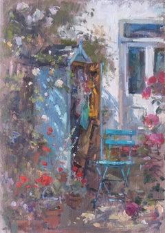 Potting shed Original garden landscape painting