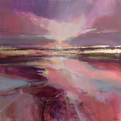 Red Raverie original abstract landscape painting