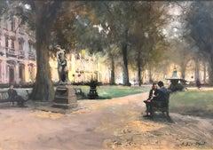 Conversation Berkeley Square  original City landscape painting