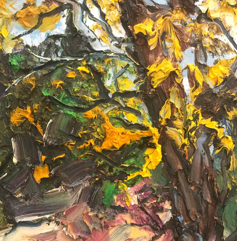 Autumn Tree original  textured abstract landscape painting - Contemporary Art - Painting by Denis Ribas