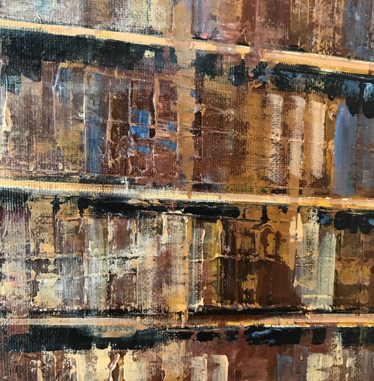 Side to Side original NYC Landscape interior painting- Contemporary Art - Brown Abstract Painting by Nathan Neven