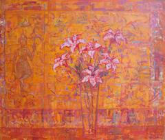 Lilies with Indian  Figurine abstract oil painting