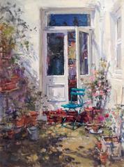 Summer Patio Garden  landscape oil painting
