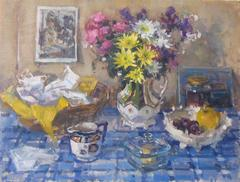 Breakfast Table with Flowers still life oil painting