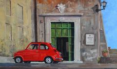 Red Car landscape painting