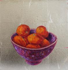 Chinese Bowl and Mandarins Abstract  Still Life Painting