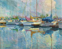 Boats at the Harbour landscape oil painting