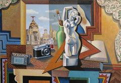 Still life with Statue abstract landscape painting
