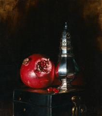 Pomegranite and Sugar Sifter still life oil painting