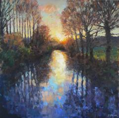 River Sunset Original Landscape  Painting