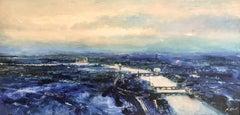 Upriver, Dusk looking North West London original landscape painting