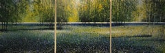Bluebells forest original triptych painting