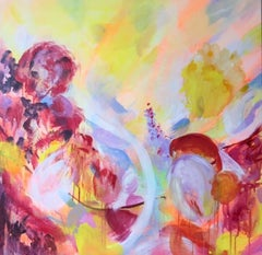 Peonies original abstract landscape painting