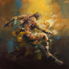 Golden Dust  Abstract Figurative Painting