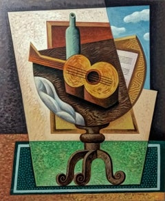 Still Life with Guitar  original cubism painting