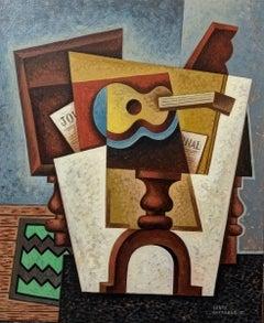 Guitar  & Diary original cubism painting