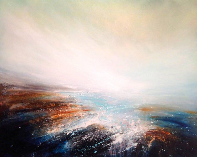 The original abstract painting by Tessa Houghton is painted on deep edge stretched canvas, The artwork is signed and ready to be displayed.   Tessa Houghton creates semi abstract oil paintings which appear unearthly and exquisite. Taking inspiration