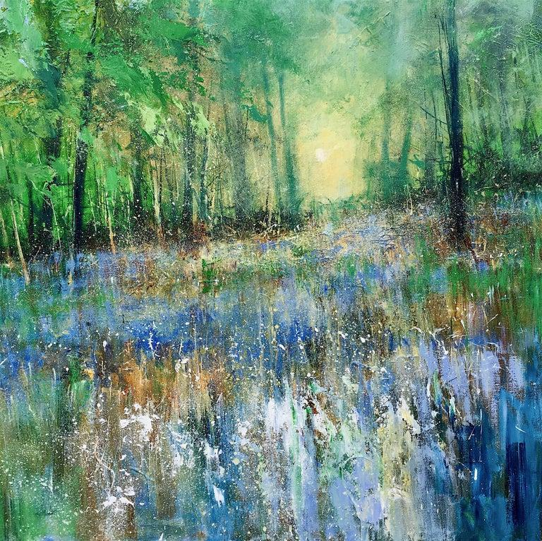 Bluebells forest original landscape painting