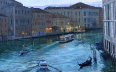 Darkness Falls  Grand Canal Original Venice  landscape painting