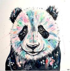 Panda original abstract animal  painting