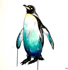 PENGUIN original abstract animal  painting